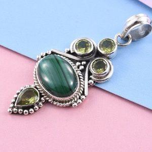 Jewelry - African Malachite, Hebei Peridot Sterling Pendant